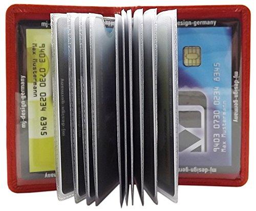 Cuero de búfalo Tarjetero para Tarjeta de crédito MJ-Design-Germany (Rojo)