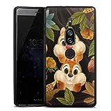 DeinDesign Silikon Hülle kompatibel mit Sony Xperia XZ 2 Premium Case schwarz Handyhülle Disney Chip und Chap Offizielles Lizenzprodukt