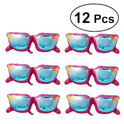 BESTOYARD 12 stücke Sonnenbrille Folie Ballon Spaß in der Sonnenbrille Mylar Ballons Sonnenbrille Dekoration Party Supplies für Hawaiian Thema Halloween Geburtstag Hochzeit Baby Shower Party (Rosy)