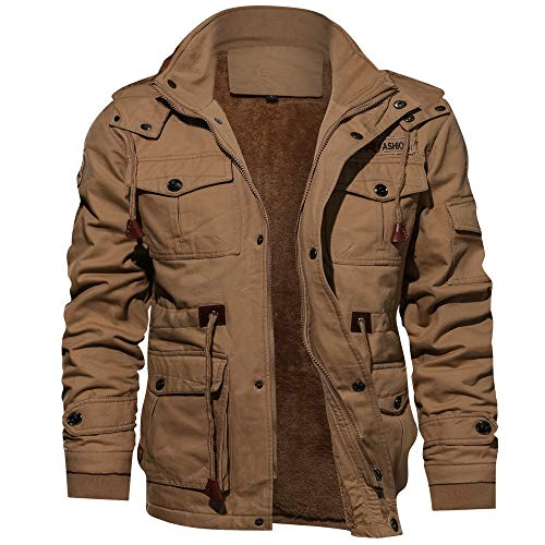 Riou Herren Bomberjacke Winterjacke Winter Baumwolle Militär Jacken Pocket Tactical Verdicken Übergangs Mäntel Draussen Windbreaker Hochwertig Fliegerjacke (4XL, Khaki)