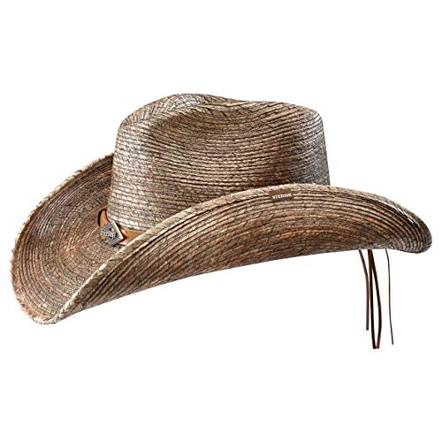 Stetson Sombrero de Paja Monterrey Bay Mujer/Hombre - Made in USA Hombre Vaquero Verano con Banda Piel Primavera/Verano - XL (60-61 cm) Natural