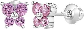 925 Sterling Silver CZ Butterfly Earrings Toddlers Baby Kids Screw Back