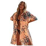 Women's Floral Print Cardigan, Chiffon Bikini Beach Cover up, Summer Swimwear