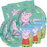 JuniorToys Peppa Pig - Set de fiesta para cumpleaños infantiles (48 piezas), incluye servilletas de papel y vasos de plástico reutilizables