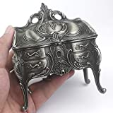 ROSIKING Emboss Alloy Metal Music Box Wind Up and Golden Movement Music Box for Christmas/Birthday/Valentine's Day (Emboss Alloy Pattern F, Tune;Davy Jones)