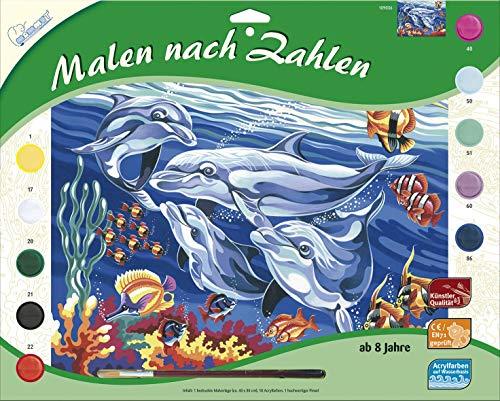 MAMMUT 109036 - Malen nach Zahlen Tiermotiv, Delfine, Komplettset mit bedruckter Malvorlage im A3 Format, 10 Acrylfarben und Pinsel, großes Malset für Kinder ab 8 Jahre