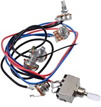 Prewired Wiring Harness Kit for LP Electric Guitar, 2T2V 500K Pots 3-position Toggle Switch with Jack for Dual Humbucker Gibson Les Pual Style Guitar Electronics Replacements, White Cap