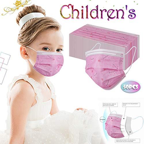 Rosennie 50/100 Stück Mundschutzhülle für Kinder, Einweghülle Niedlicher Cartoon-Mundschutz 3-lagiger Earhook für Jungen und Mädchen Mundbedeckung