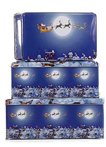 Time for Home Gebäckdosen Set Schneemann oder Weihnachtsmann rechteckig Plätzchendosen Keksdosen Weihnachten Blechdosen 3-tlg. 14/17/19 cm Ausgefallen modern (3er Set Weihnachtsmann)