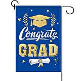 Congrats Garden Flag Double Sided Diploma Cap Garden Banner Yard Outdoor Decoration 2021 Graduation Party Supplies, 12.6 x 18.1 inches (Blue and Gold)