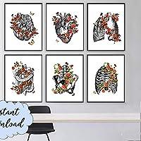 ヴィンテージ解剖学アート医療キャンバス絵画花器官心臓肺ポスター印刷学生教育病院の写真モダンな装飾  40x50cmx6(フレームなし)