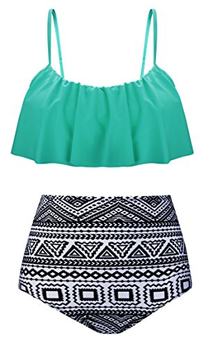 Angerella Swimsuits For Women Ruffled Top Swimwear High Waisted Bikini,Green Mint,US 12-14=Tag Size 3XL