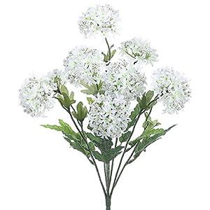 18″ Silk Snowball Flower Bush -White (Pack of 12)