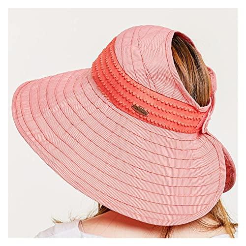 Sombreros De La Moda De Las Mujeres De Verano Solar CAP UV Playa Sun Visor Ancho Rolling Rolling Floppy Plate (Color : Watermelon red, Size : M)