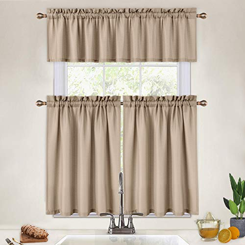 Cafe Curtains 36 Inch with Valance, 3 Pcs Waffle Weave Kitchen Tier Curtains and Valance Set Bathroom Window Curtains Short Cafe Curtains, Plaza Taupe