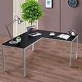 GOOD & GRACIOUS Office Desk L Shaped, Corner Computer Gaming L-Shaped Desk, Modern Home Office Study Writing Workstation Table, Easy Assembling, Black Desktop & Grey Leg
