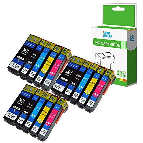 InkJello Compatibile Inchiostro Cartuccia Sostituzione Per Epson XP510 XP520 XP600 XP605 XP610 XP615 XP620 XP625 XP700 XP710 XP720 XP800 XP810 XP820 26XL (Nero/Foto-Nero/Ciano/Magenta/Giallo, 15-Pack)