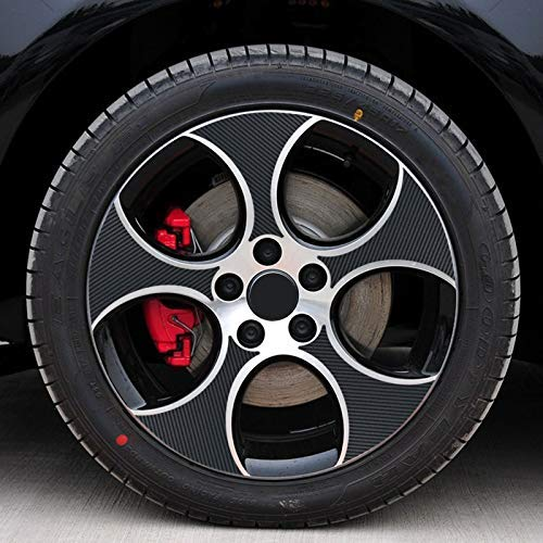 ZQTG Calcomanía Exterior de Estilo de Coche de 17 Pulgadas, Pegatina de Fibra de Carbono Negra de Fibra de Carbono, 20 unids/Set para VW Volkswagen Golf 6 MK6, Accesorios, calcomanía