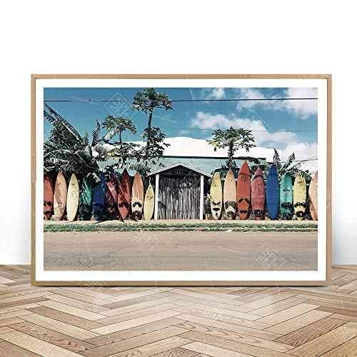 SDFSD Moderne hoofddecoratie surfplank poster en prints Pop Art zeestuk canvas schilderij wandafbeeldingen voor de woonkamer 60X100CM Q