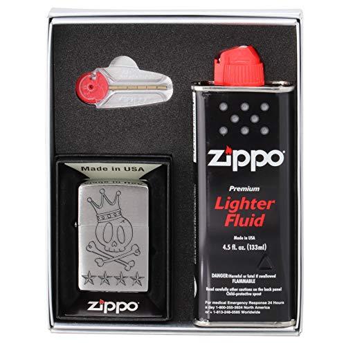 (ユーエス ジッポー) US Zippo オリジナル ライター Z200-411687 NEWギフトボックスセット (オイル小・石付き) クラウン スカル 王冠 ドクロ