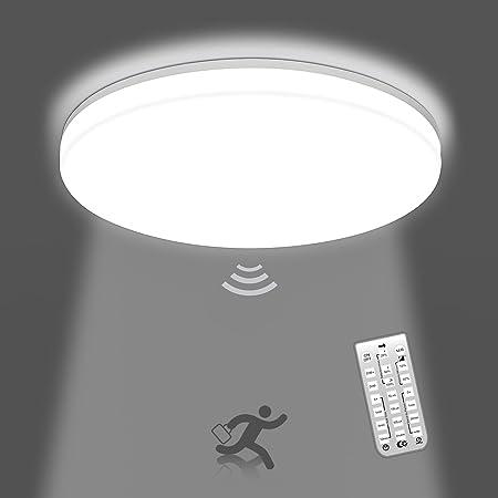 OEEGOO Plafonnier led détecteur de mouvement, 18W 1800LM Lampe de plafond rond, Plafonnier led dimmable IP54 étanche, Eclairage de plafond pour Salle de bain, Salon, Cuisine, blanc neutre 4000K