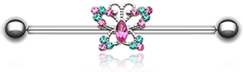 Glam Butterfly Sparkle WildKlass Industrial Barbell