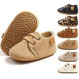 HsdsBebeBabyBoysGirlsOxfordShoesPULeatherSoftRubberSoleSneakersAnti-SlipToddlerAnkleBootsInfantWalkingShoes Moccasins(M1976 Khaki,2)