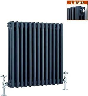 Global - Radiador vertical de hierro fundido (600 x 585 mm, 3 columnas, horizontal), color negro