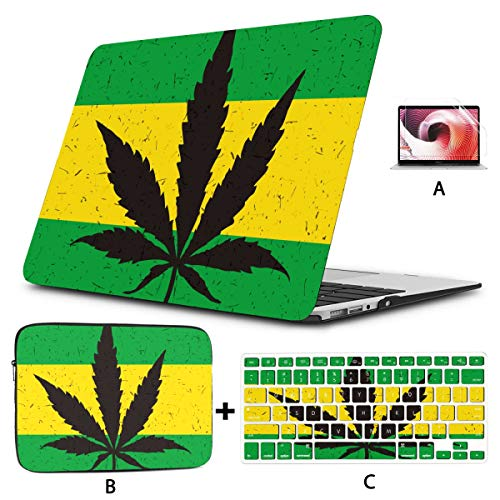 Macbook Air 2018 Case Cool Green Cannabis Leaf Icon 11 Macbook Air Case Hard Shell Mac Air 11'/13' Pro 13'/15'/16' With Notebook Sleeve Bag For Macbook 2008-2020 Version
