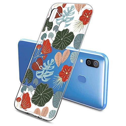 Suhctup Compatible pour Samsung Galaxy A70 / A70S Coque Silicone Transparent Ultra Mince Étui avec Clear Mignon Fleurs Motif Design Housse Souple TPU Bumper Anti-Choc Protection Cover,A5
