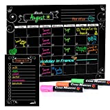 Cedar Markers 16'x12' Magnetic Calendar for Refrigerator and Magnetic Grocery List for Fridge with Free Chalk Markers. Dry Erase Calendar for Monthly Planning Kindergarten Calendar (Black)