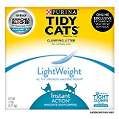 One (1) 17 lb. Box - Purina Tidy Cats Light Weight, Low Dust, Clumping Cat Litter, LightWeight Instant Action Multi Cat Litter Low dust for a clean, easy pour Ammonia Blocker prevents ammonia odors from forming for at least two weeks when used as dir...