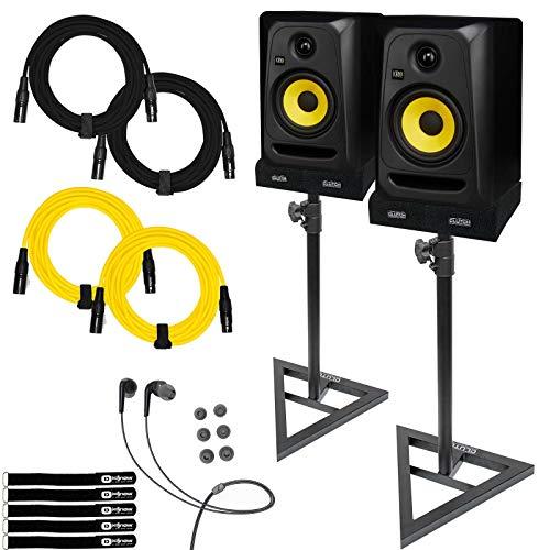 "KRK Rokit 5 CL5G3 5"" Classic Powered Active Studio Monitor Speaker Pair w Stands"