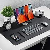 Upgrade Knodel Tischunterlage, Schreibtischunterlage, 80cm x 40cm PU-Leder Tischunterlage, Laptop Tischunterlage, wasserdichte Schreibunterlage für Büro- oder Heimbereich, doppelseitig (Schwarz)