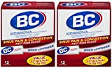 BC Powder - Sinus Pain & Congestion Fast Pain Relief - 12 Count Powders Per Box - Pack of 2 Boxes