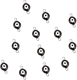 20PCS Stainless Steel Evil Eye Charm Connectors 6mm Gold Fashion Connector Beads for DIY Necklace Bracelet Jewelry Making