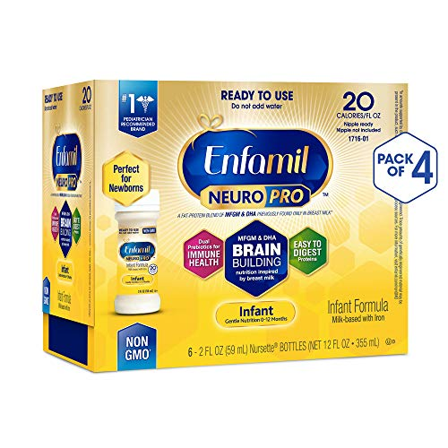 Enfamil NeuroPro Ready to Feed Baby Formula Milk, 2 fluid ounce Nursette (24 count) - MFGM,...