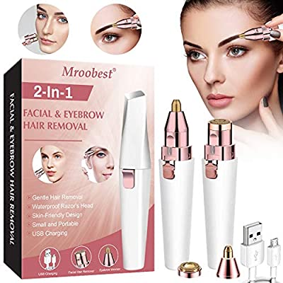 Eyebrow Trimmer, Facial Hair Removal for Women, Eyebrow Hair Remover, 2 in 1 Eyebrow Razor and Hair Remover, Rechargeable Painless Eyebrow Lips Body Facial Hair Removal for Women with LED Light