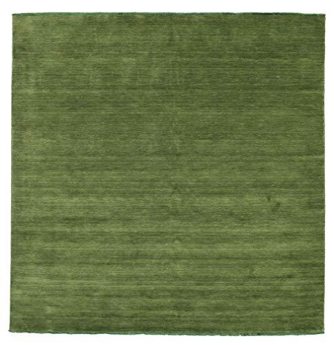RugVista Handloom Fringes - grün Teppich 250x250 Moderner, Quadratisch Teppich