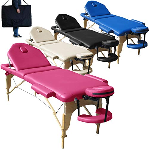 Beltom Mobile Massagetisch Massageliege Massagebank 3 zonen klappbar Kosmetikliege Neu - Pink