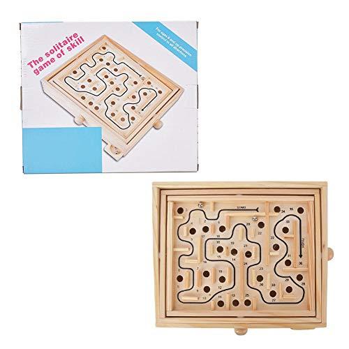 Qiilu houten labyrint, klassiek houten vrijetijdsbesteding educatief speelgoed bal doolhof voor training bordspel educatief speelgoed