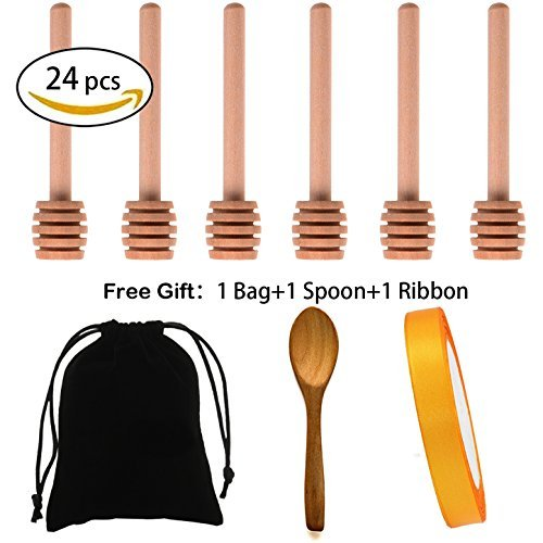 Artcome 24 Pack 4 Inch Wood Honey Dipper Sticks, with Spoon, Ribbon and Storage Bag for Honey Jam Jar Dispense, Mini Individually Wrapped, Wedding Party Favors