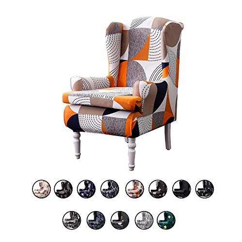 MWyanlan Ohrensessel Überwürfe Sessel-Überwürfe Bezug modern Muster Sesselbezug Elastisch Stretch Ohrensessel Husse Sesselhusse- Geometrie-b