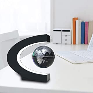 "3"" C Shape Magnetic Levitation Floating Globe Maglev Levitation Rotating Globe World Map with Colored LED Lights for Teach..."