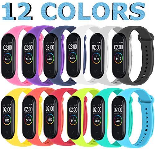 Monuary 12 Piezas Correas para Xiaomi Mi Band 4 / Mi Band 3 Pulseras Reloj Silicona Banda para Mi Band 3 / Mi Smart Band 4 Reemplazo - 12 Colores.