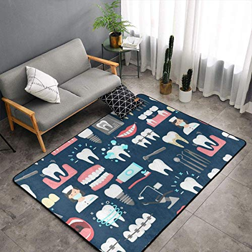 Area Rugs, Floor Mat Doormats Standing Mat, Baby Children Play Blanket Bathroom Rug Mat, Dental Seamless Pattern Throw Rugs Runner Yoga Mat, Indoor/Outdoor Entrance Rug