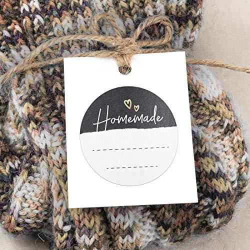 sendmoments Aufkleber für Selbstgemachtes, Homemade Herzchen Tafel, Etiketten, 315 Sticker rund ca. 36 mm, selbstklebend für Haushalt, Bastelarbeiten oder als Geschenkaufkleber
