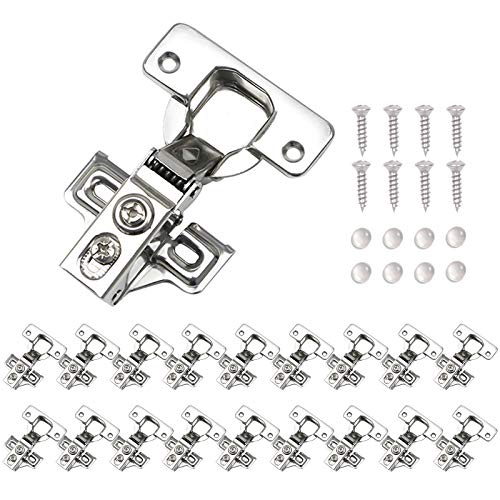 VOCOMO 20 Pack Soft Close Cabinet Door Hinges, Full Overlay Kitchen Cabinet Cupboard Hinges Satin Nickel Hinges Stainless Steel Concealed Hinge with Mounting Screws, 105 Degree Opening Angel