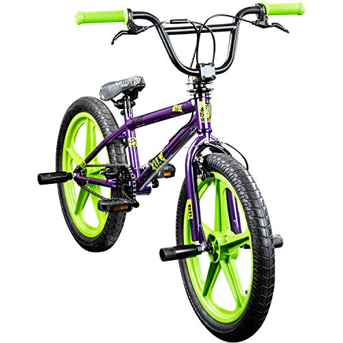 DETOX BMX 20 Zoll Rude Skyway Freestyle Bike Street Park Fahrrad viele Farben (lila/grün)