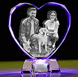 2D/3D crystal photo Personalized Custom 3D picture in glass Engraved crystal heart keepsake with Your Own Picture (Birthday, Wedding Gift, Mothers Day Gift, Fathers day gift, Valentine's,Christmas) (Faced edge L)